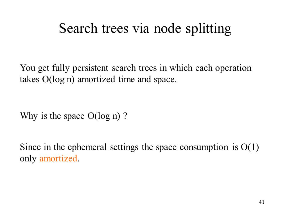 Search trees via node splitting