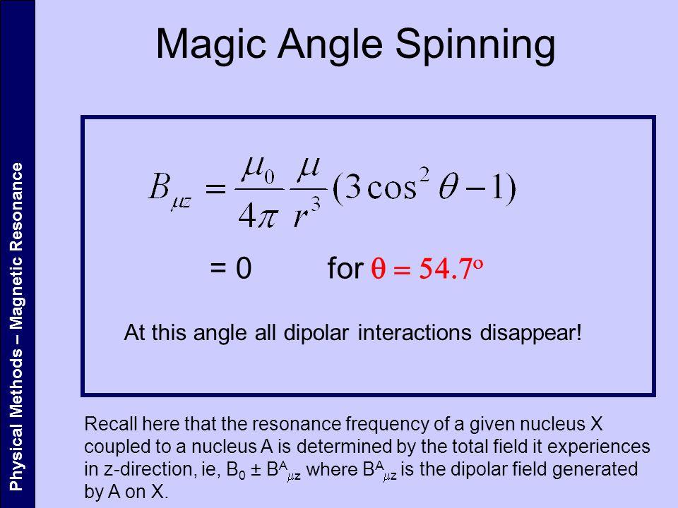 Magic Angle Spinning = 0 for q = 54.7o