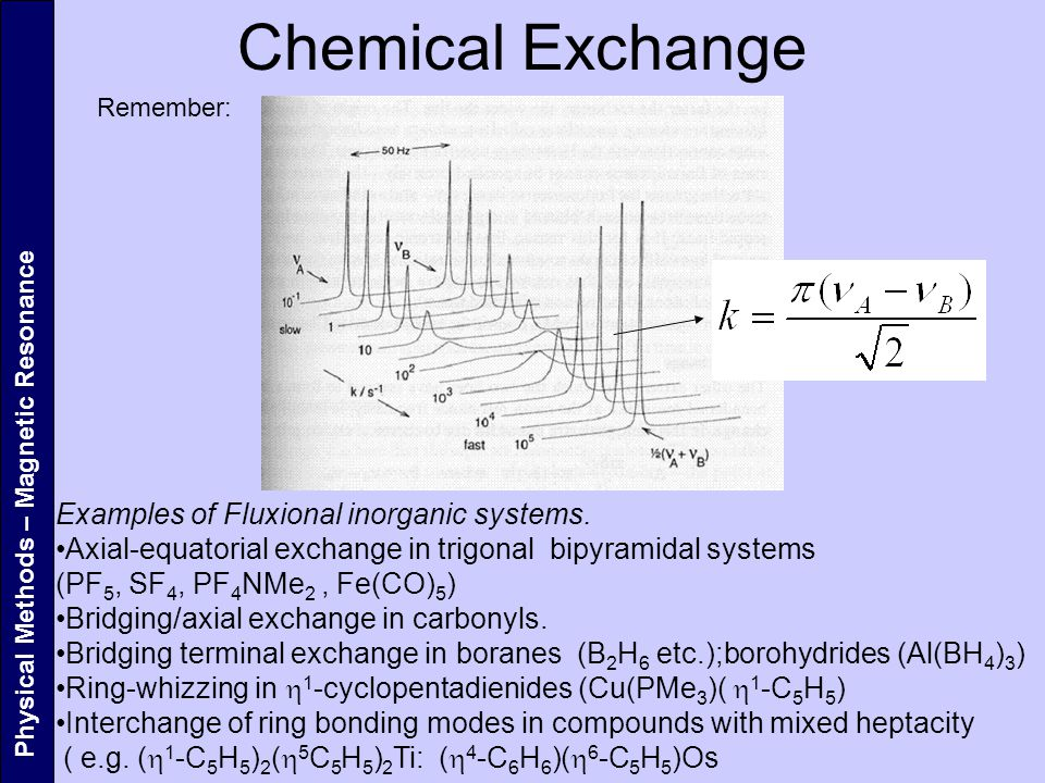 Chemical Exchange Examples of Fluxional inorganic systems.