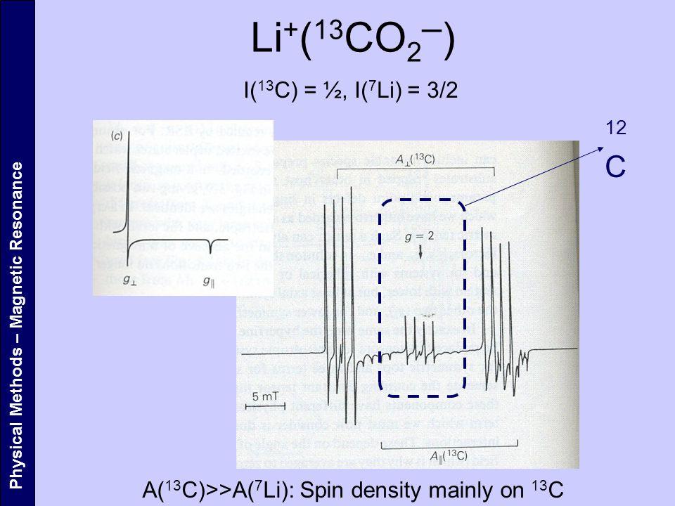 Li+(13CO2─) 12C I(13C) = ½, I(7Li) = 3/2