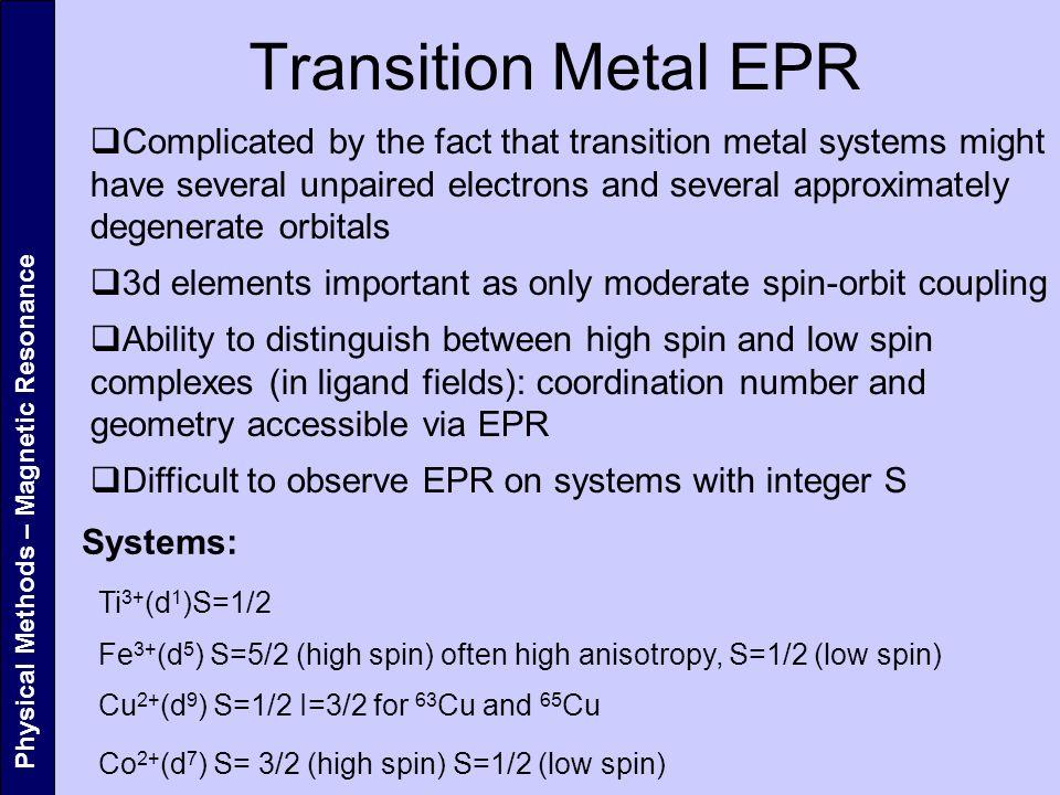 Transition Metal EPR