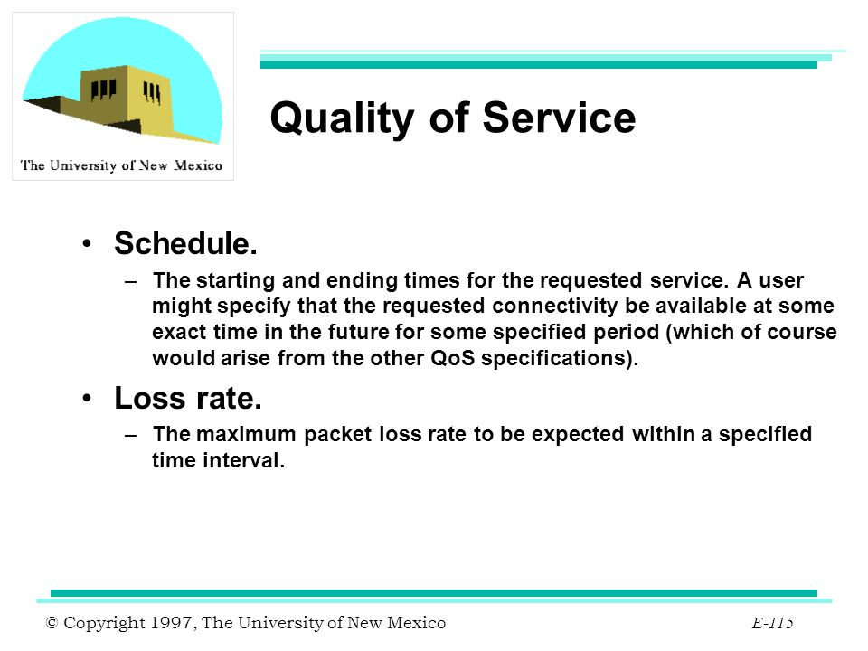 Quality of Service Schedule. Loss rate.