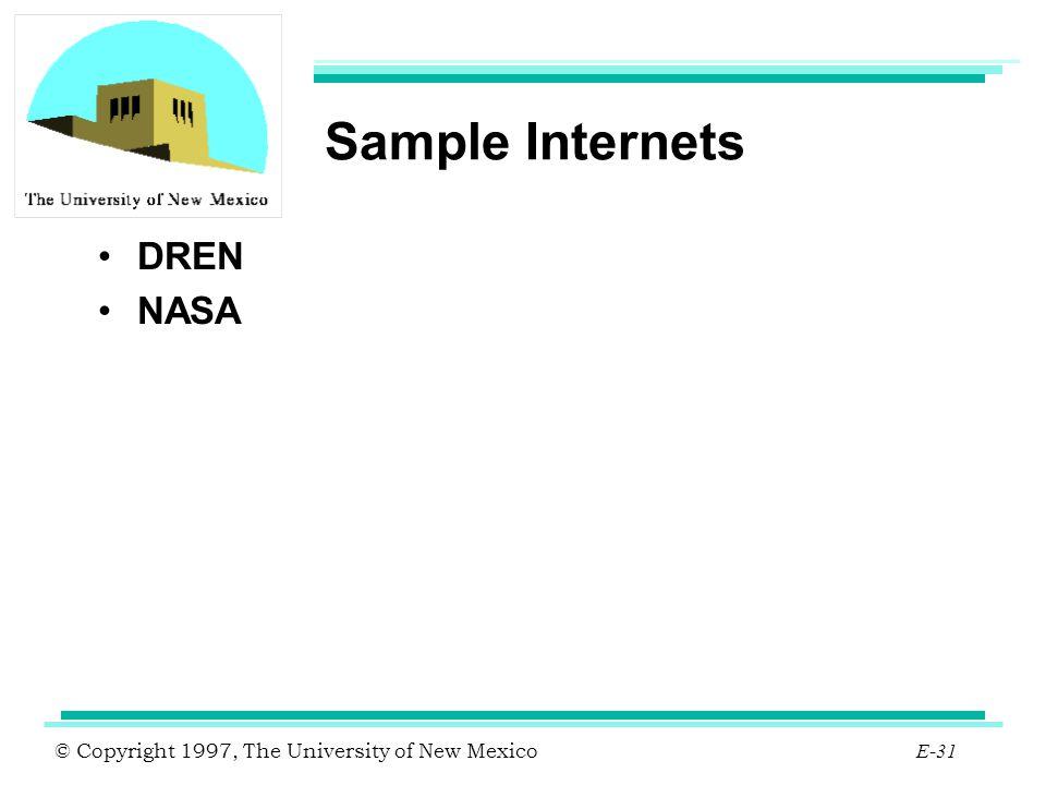 Sample Internets DREN NASA