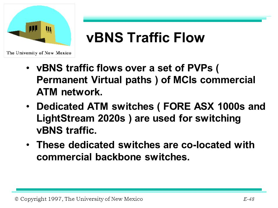 vBNS Traffic Flow vBNS traffic flows over a set of PVPs ( Permanent Virtual paths ) of MCIs commercial ATM network.