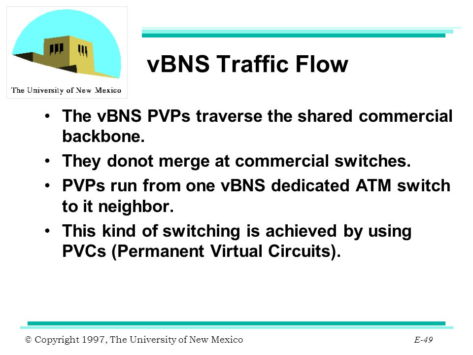vBNS Traffic Flow The vBNS PVPs traverse the shared commercial backbone. They donot merge at commercial switches.