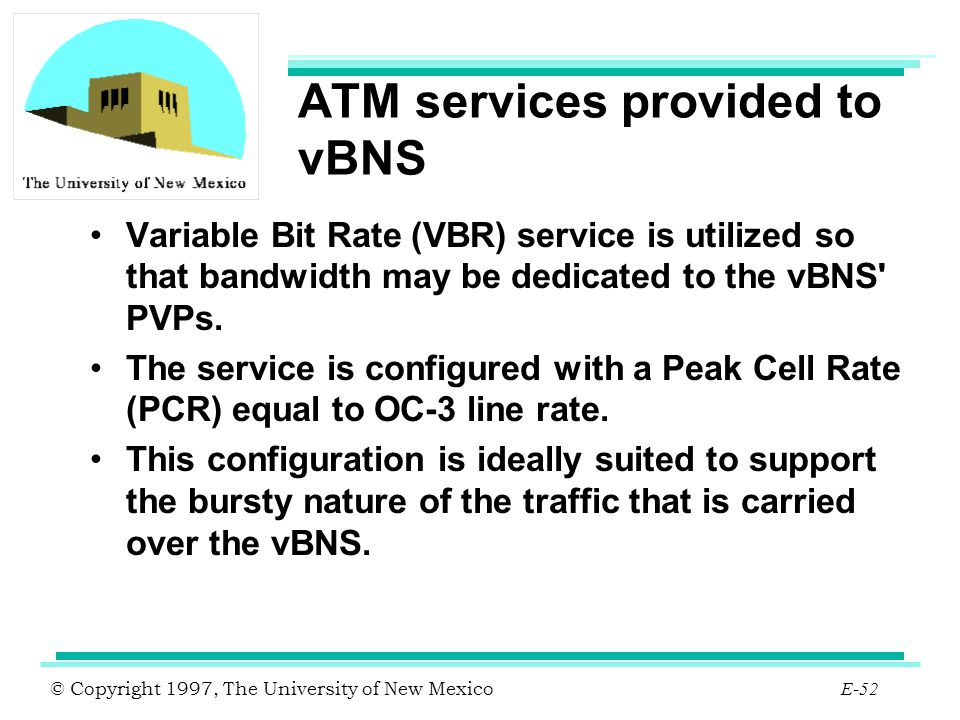 ATM services provided to vBNS