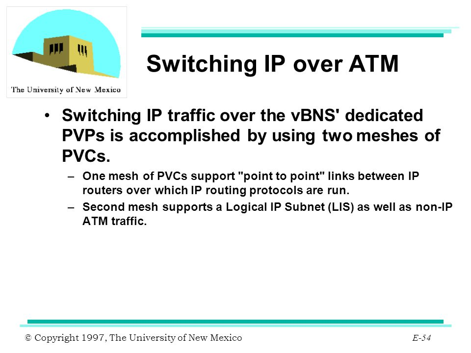 Switching IP over ATM Switching IP traffic over the vBNS dedicated PVPs is accomplished by using two meshes of PVCs.