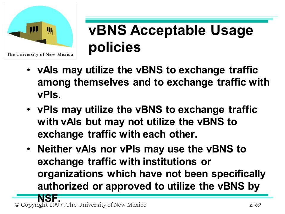 vBNS Acceptable Usage policies