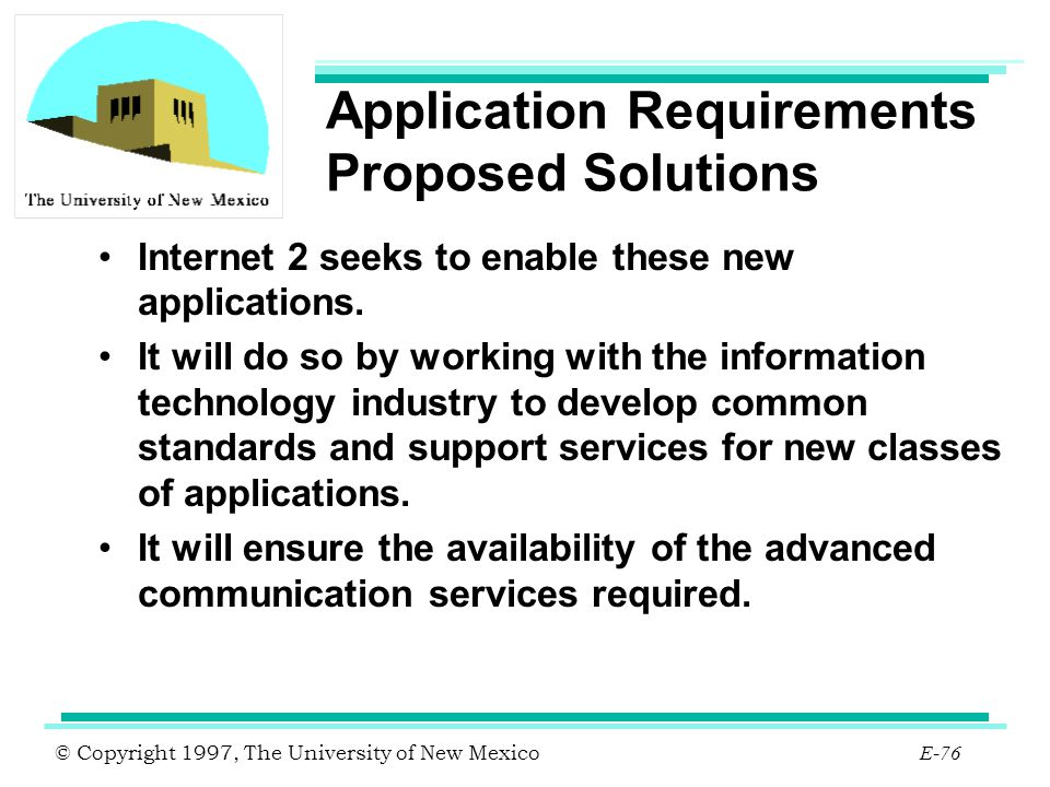 Application Requirements Proposed Solutions