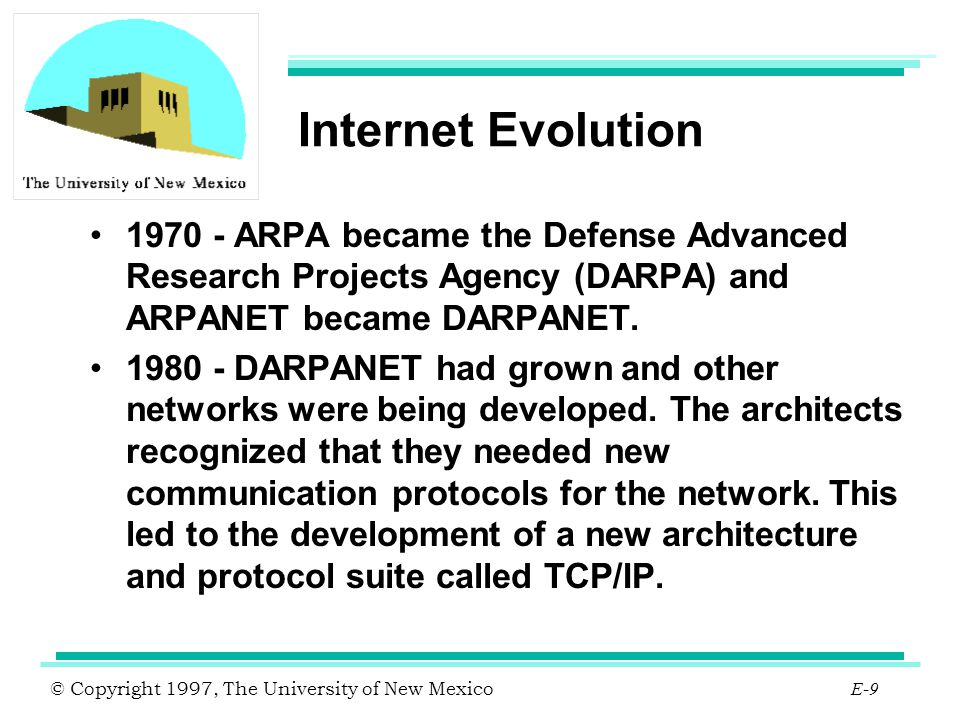 Internet Evolution 1970 - ARPA became the Defense Advanced Research Projects Agency (DARPA) and ARPANET became DARPANET.