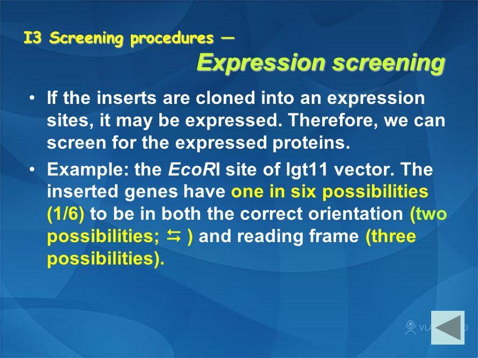 I3 Screening procedures — Expression screening