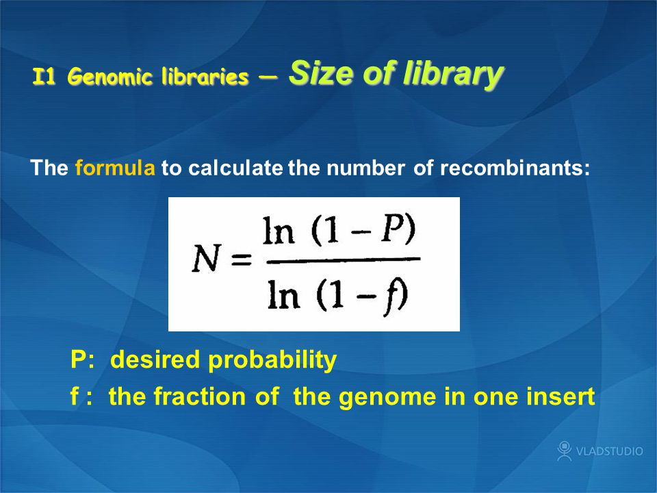 I1 Genomic libraries — Size of library