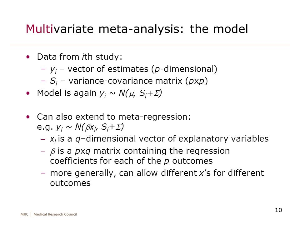 Multivariate meta-analysis: the model