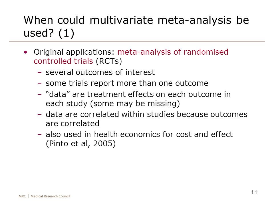 When could multivariate meta-analysis be used (1)