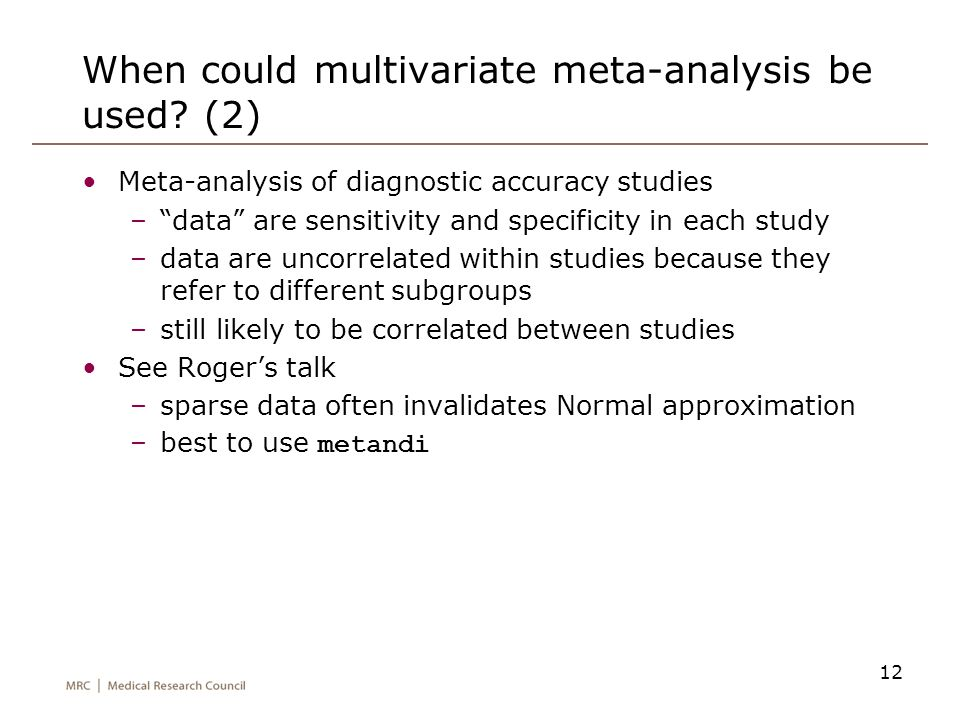 When could multivariate meta-analysis be used (2)