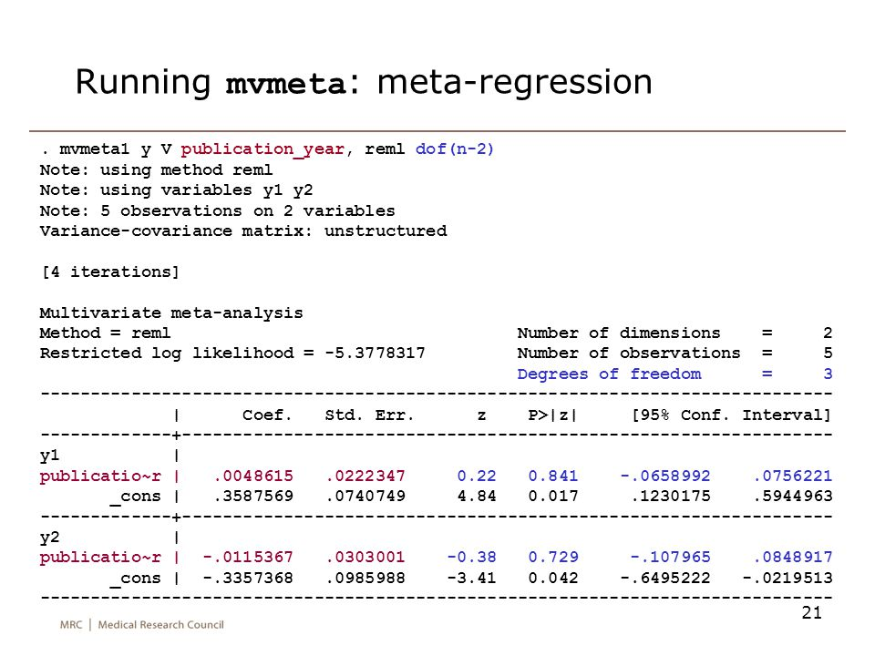 Running mvmeta: meta-regression