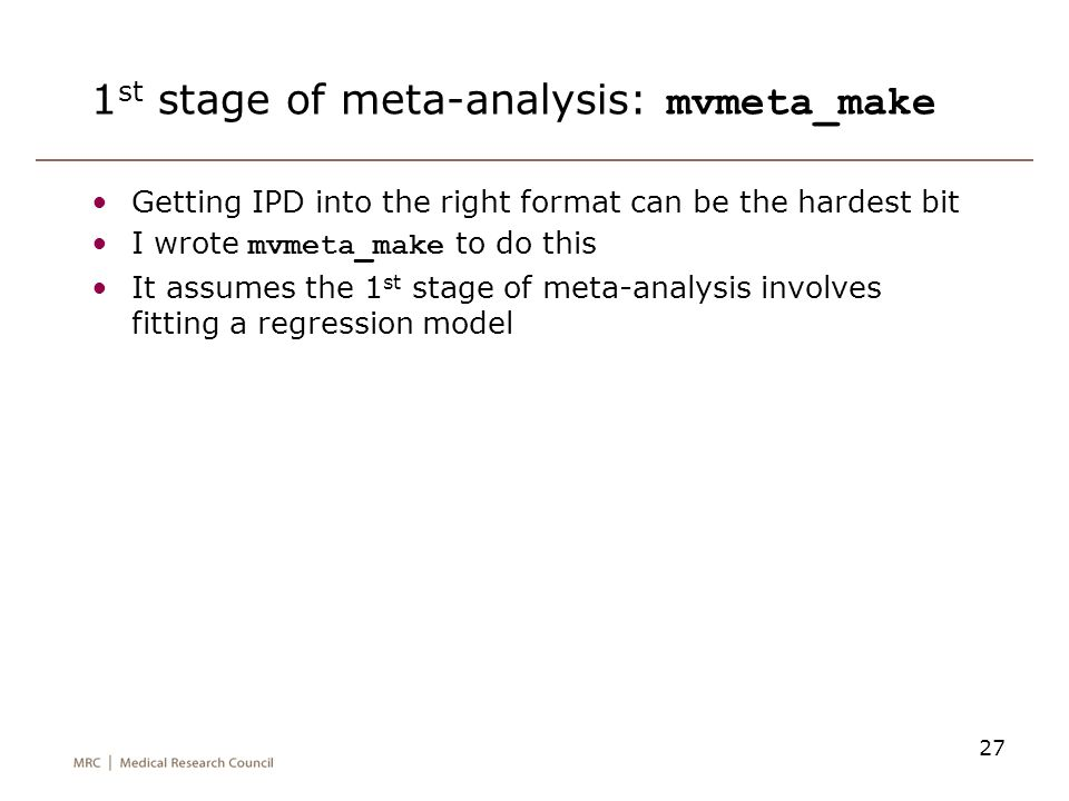 1st stage of meta-analysis: mvmeta_make