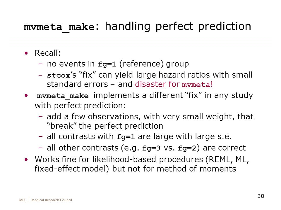 mvmeta_make: handling perfect prediction