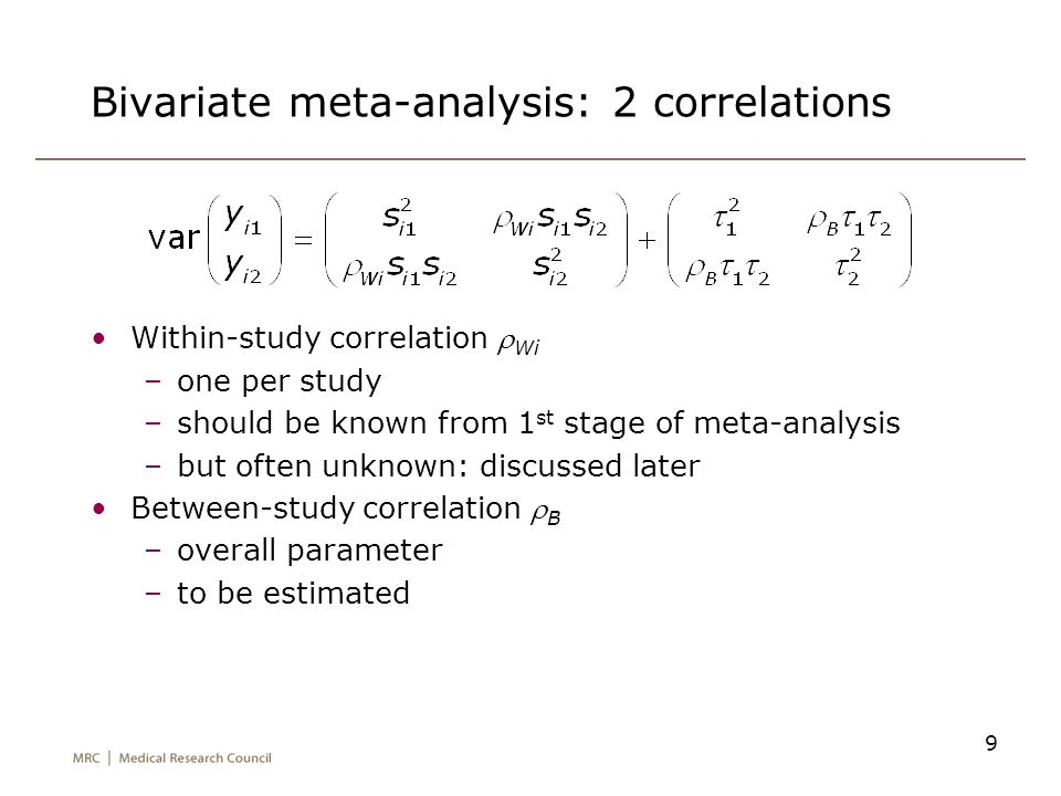 Bivariate meta-analysis: 2 correlations