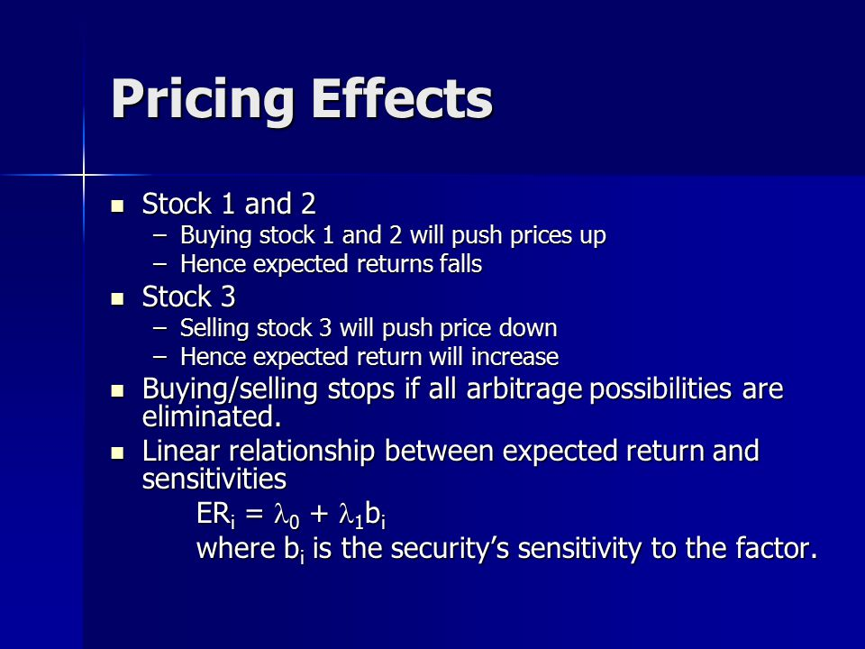 Pricing Effects Stock 1 and 2 Stock 3