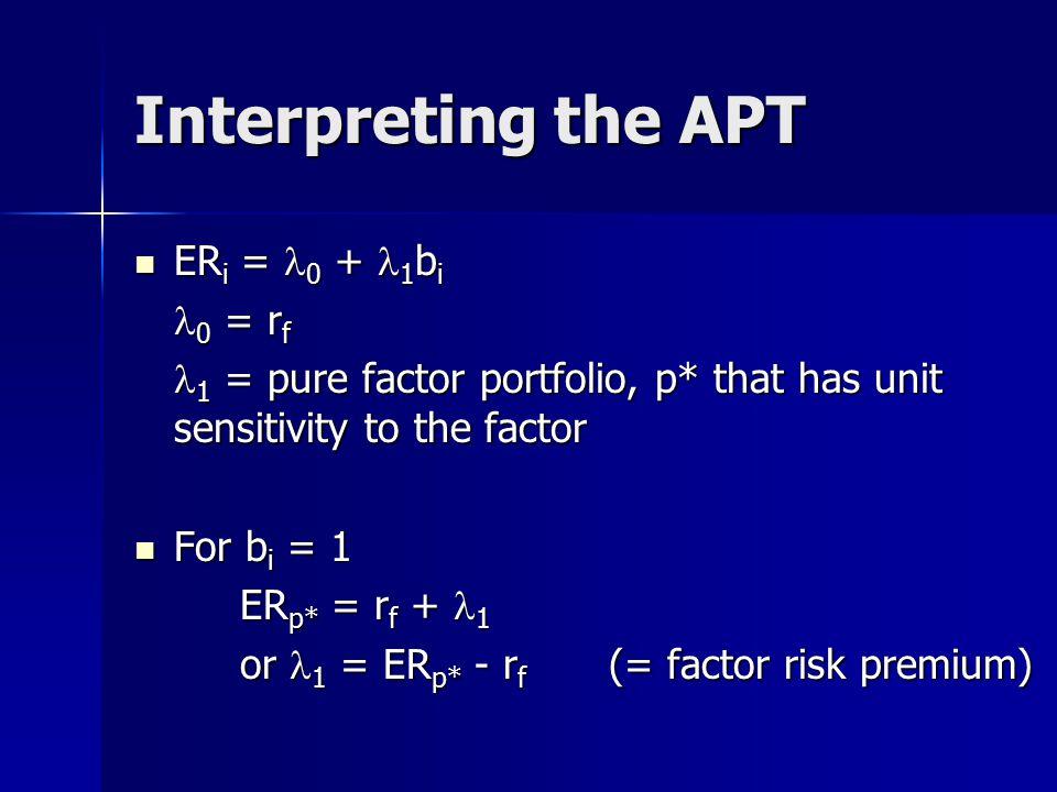 Interpreting the APT ERi = l0 + l1bi l0 = rf