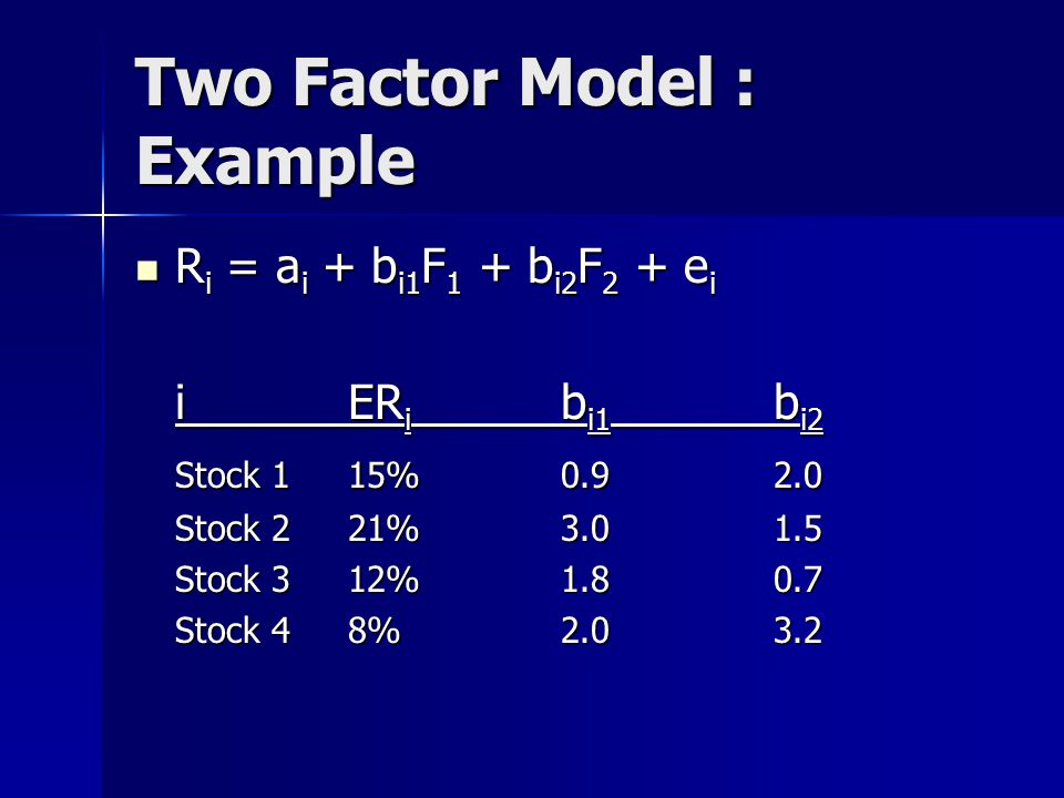 Two Factor Model : Example