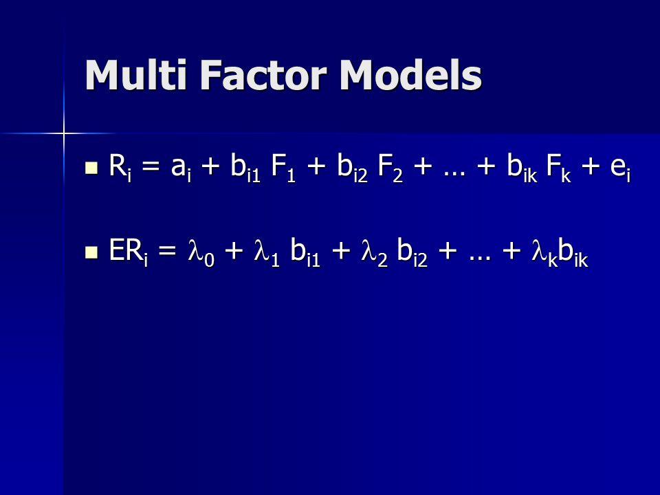 Multi Factor Models Ri = ai + bi1 F1 + bi2 F2 + … + bik Fk + ei