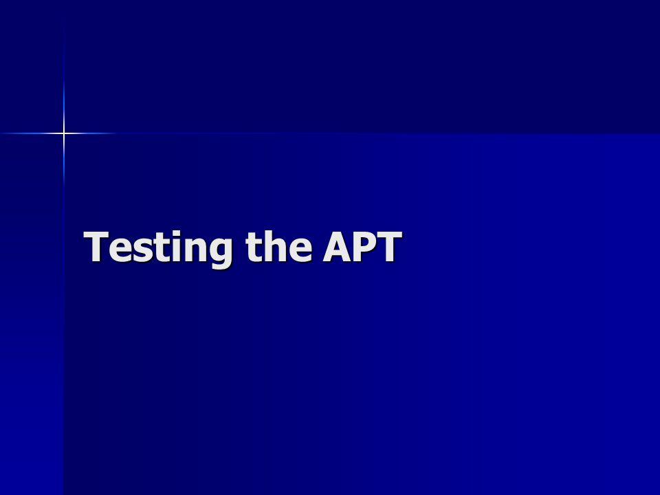 Testing the APT