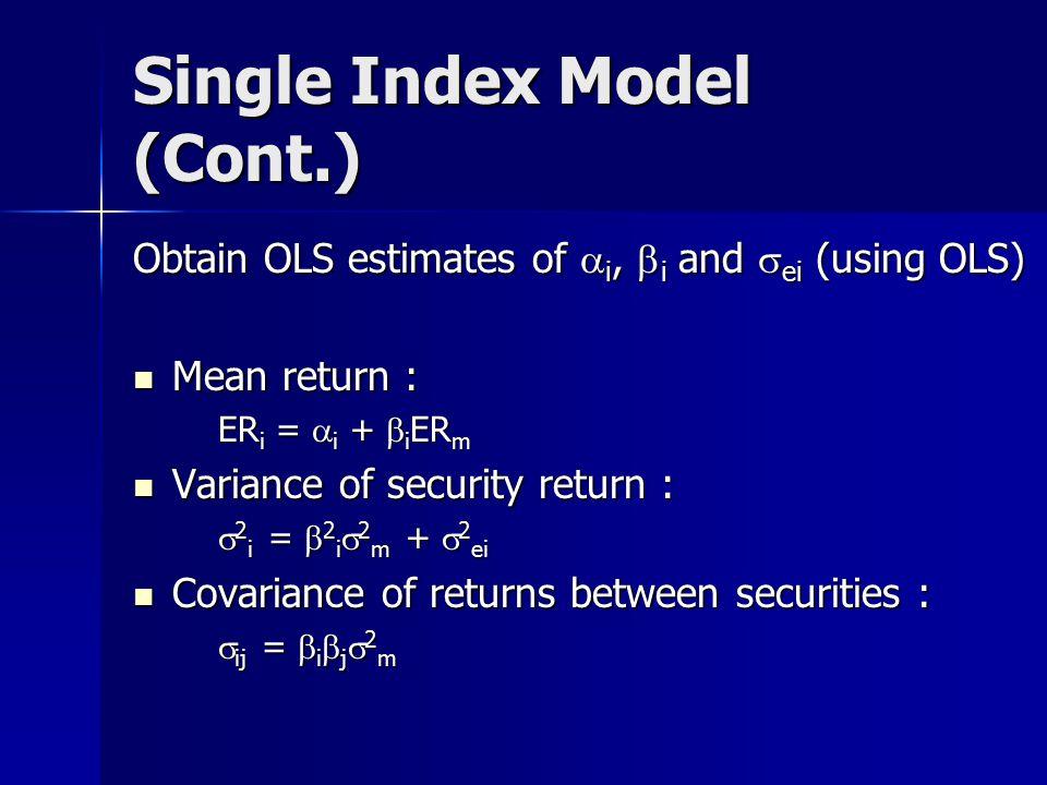 Single Index Model (Cont.)