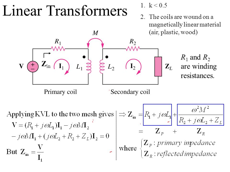 Linear Transformers R1 and R2 are winding Zin resistances. k < 0.5
