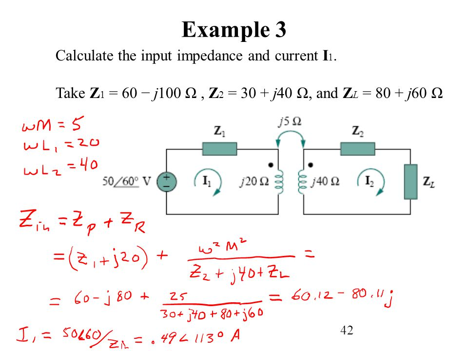 Example 3 Calculate the input impedance and current I1.