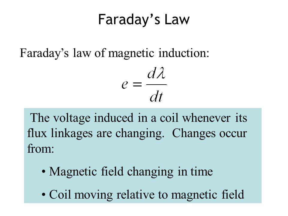 Faraday's Law Faraday's law of magnetic induction: