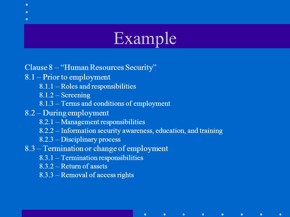 Example Clause 8 – Human Resources Security