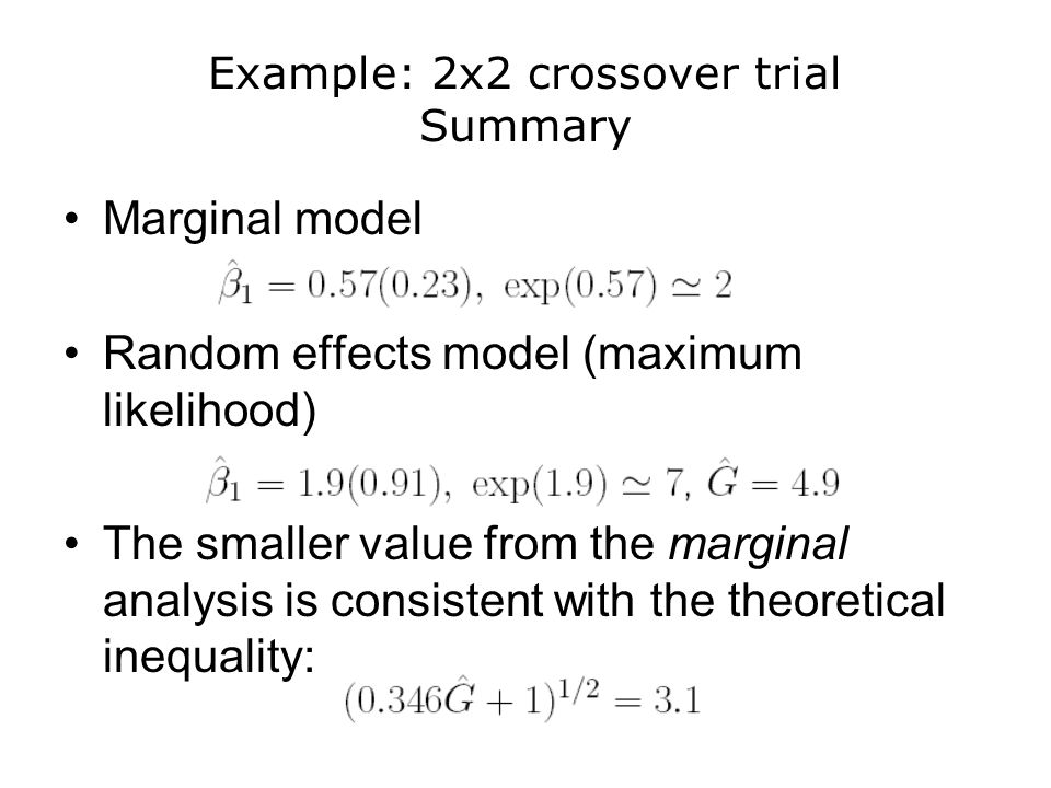 Example: 2x2 crossover trial Summary