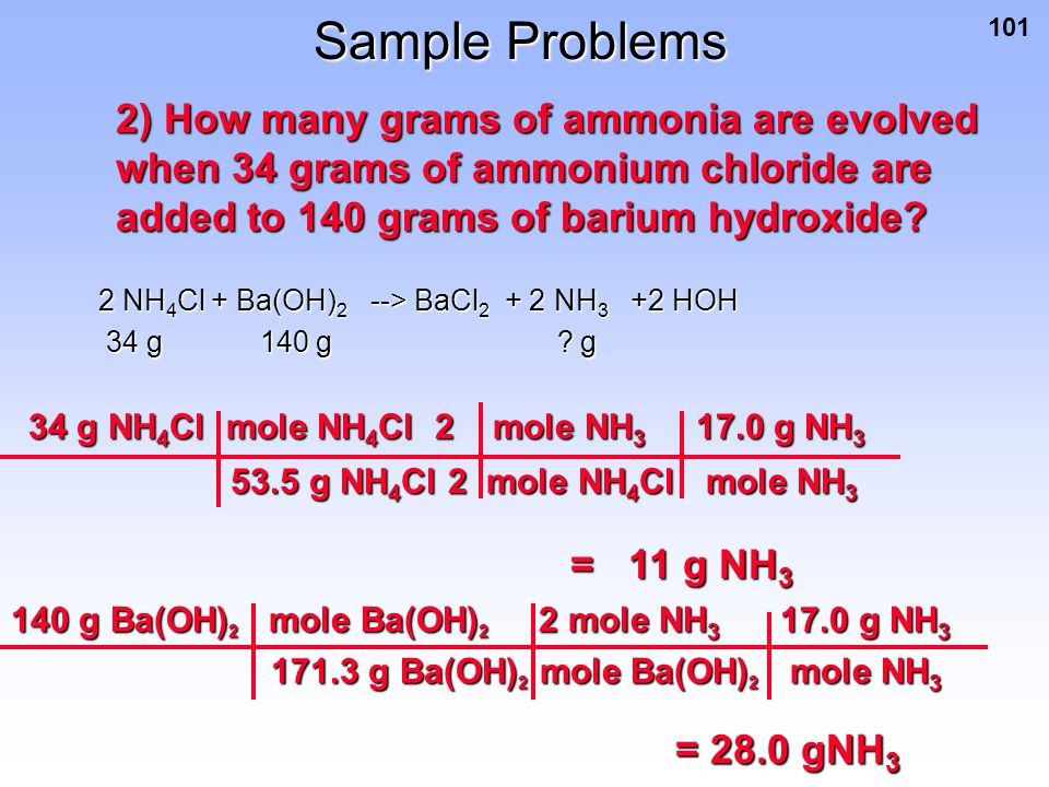 Sample Problems 2) How many grams of ammonia are evolved when 34 grams of ammonium chloride are added to 140 grams of barium hydroxide