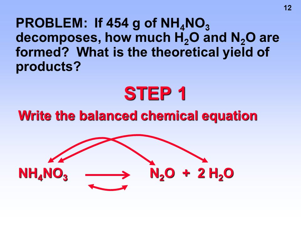 PROBLEM: If 454 g of NH4NO3 decomposes, how much H2O and N2O are formed What is the theoretical yield of products