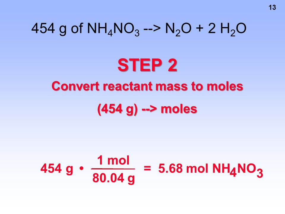 Convert reactant mass to moles