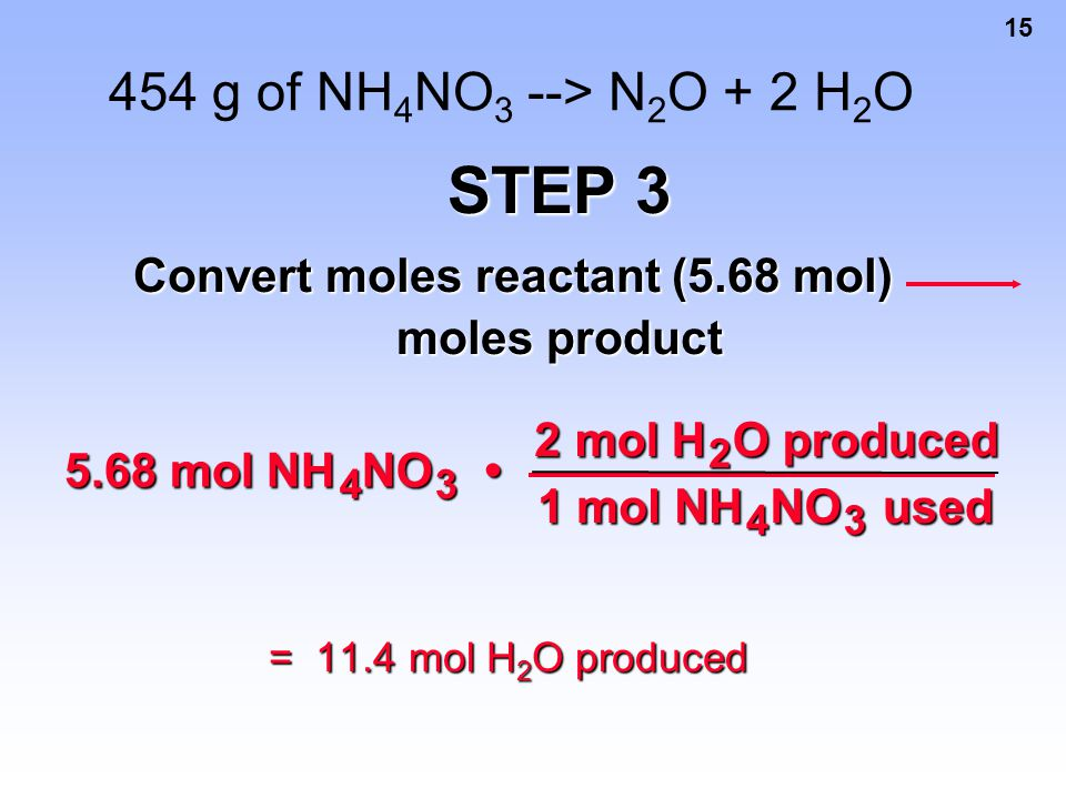 Convert moles reactant (5.68 mol) moles product