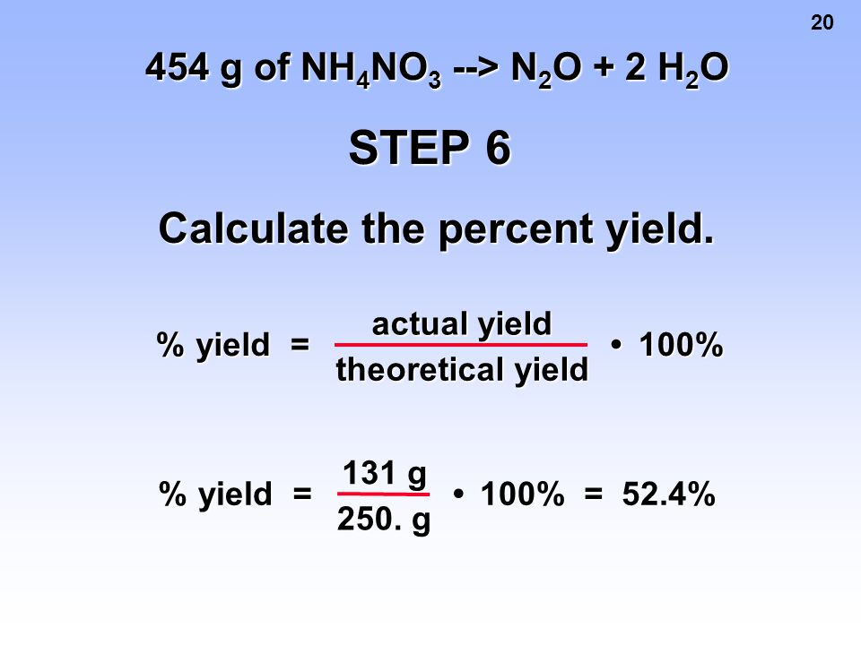 Calculate the percent yield.
