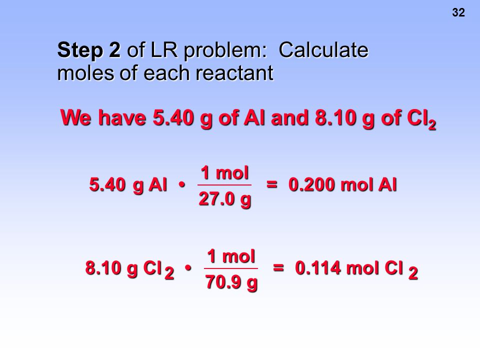 Step 2 of LR problem: Calculate moles of each reactant