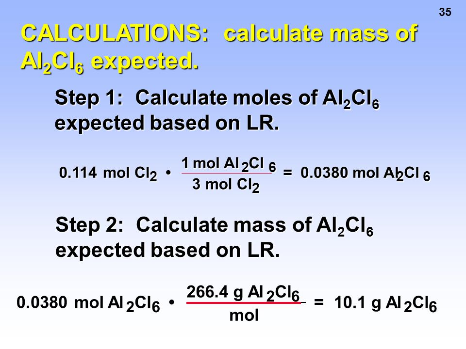 CALCULATIONS: calculate mass of Al2Cl6 expected.