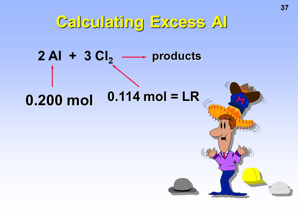 Calculating Excess Al 2 Al + 3 Cl2 products 0.114 mol = LR 0.200 mol