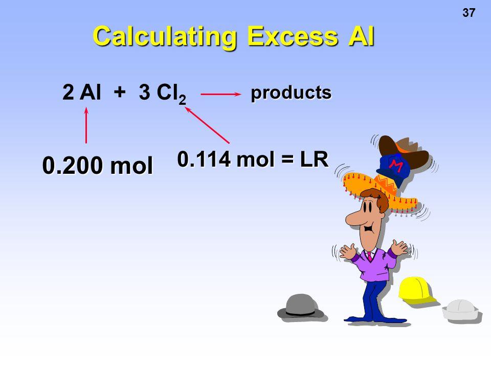 Calculating Excess Al 2 Al + 3 Cl2 products 0.114 mol = LR 0.200 mol