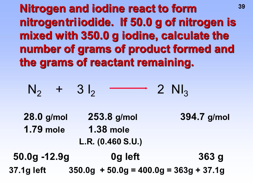 Nitrogen and iodine react to form nitrogen tri iodide. If 50
