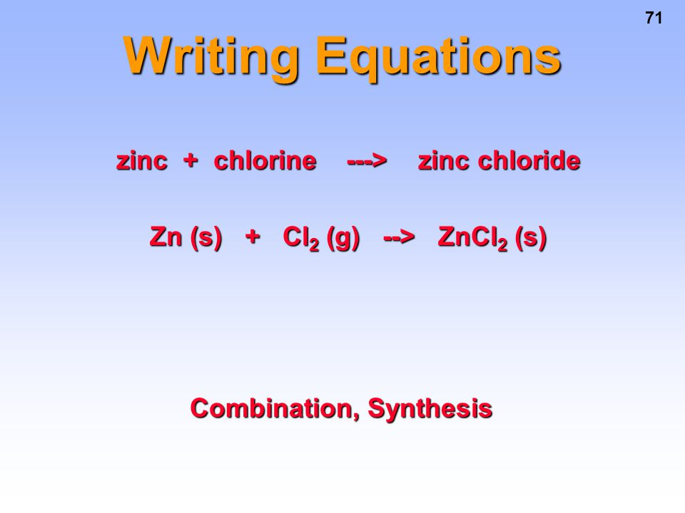 Writing Equations zinc + chlorine ---> zinc chloride