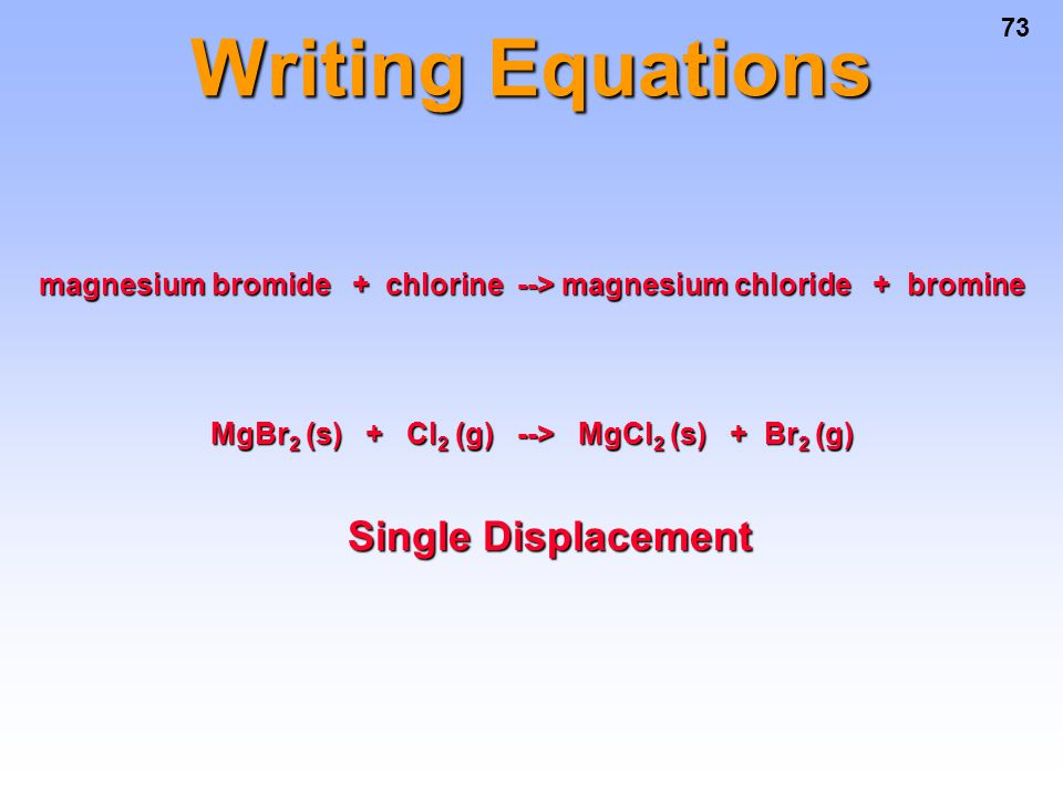 Writing Equations Single Displacement