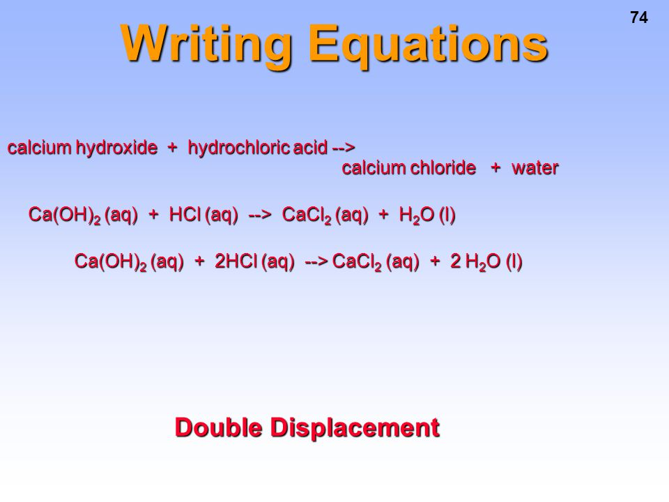 Writing Equations Double Displacement