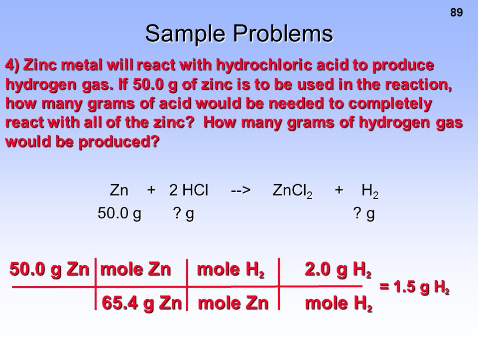 Sample Problems 50.0 g Zn mole Zn mole H2 2.0 g H2