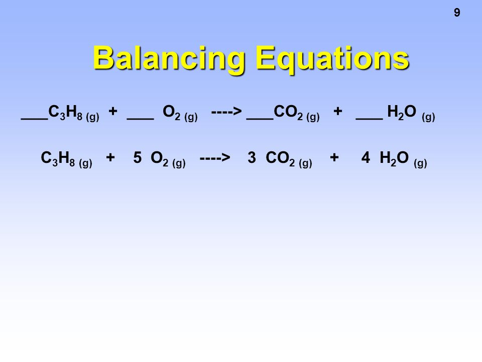 Balancing Equations ___C3H8 (g) + ___ O2 (g) ----> ___CO2 (g) + ___ H2O (g)