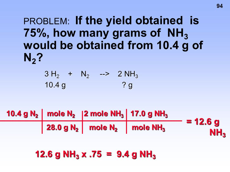 PROBLEM: If the yield obtained is 75%, how many grams of NH3 would be obtained from 10.4 g of N2
